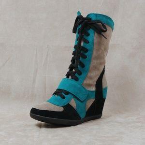 Shoes - Hidden wedge mid calf sneaker Metro-11 Green Black